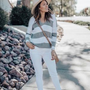 White and gray striped sweater